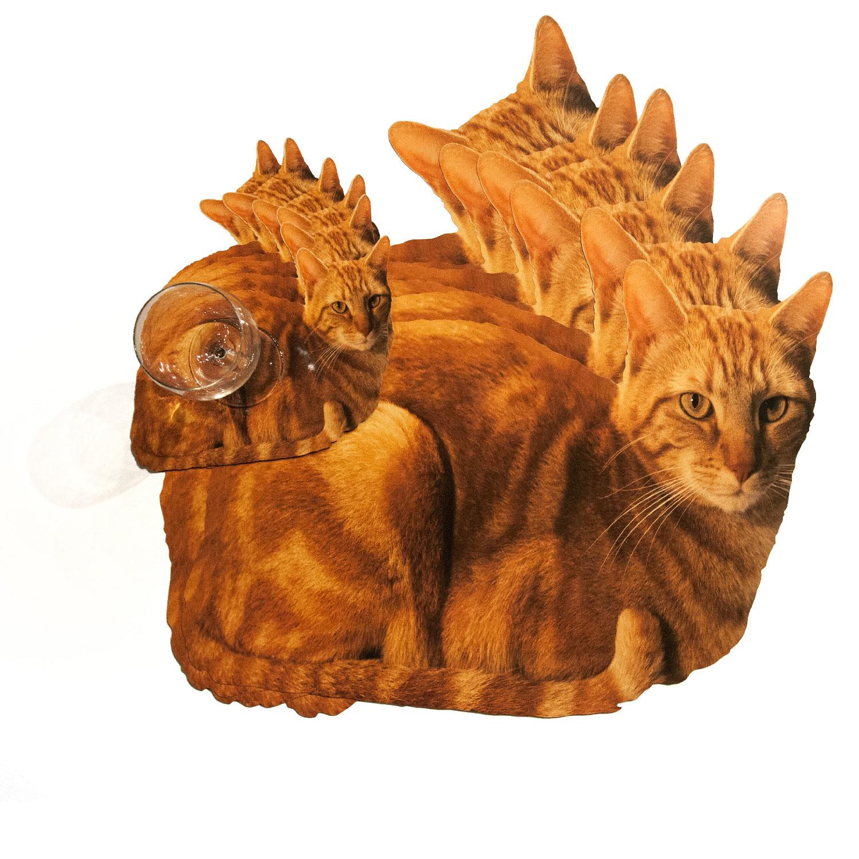 Platzset und Glasuntersetzer mit rot-braunen Katzenmotiv